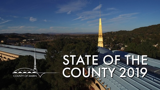2019 State of the County cover image, showing an aerial view of the Marin County Civic Center