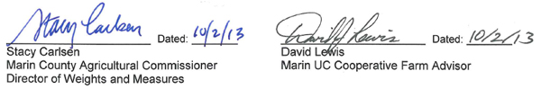 Signitures of Stacy Carlsen and David Lewis both signed on October second 2013