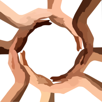 diverse hands coming together to form circle