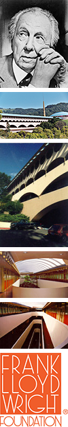 Collage of images of Frank Lloyd Wright and the Marin County Civic Center