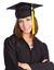 Smiling girl wearing a graduation cap and gown.