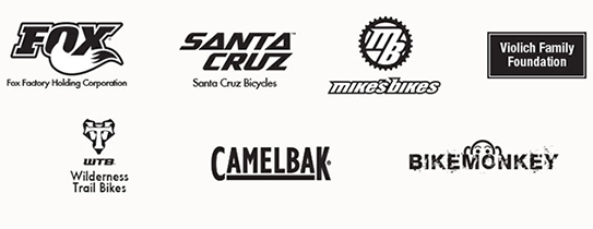 Sponsor Logos: Fox Factory Holding Corporation; Camelbak; Santa Cruz Bicycles; Mikes Bikes; WTB - Wilderness Trail Bikes; Bike Monkey; Violich Family Foundation