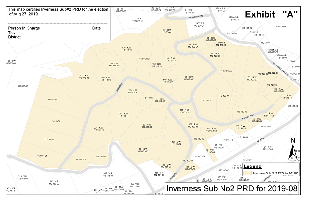Map of the parcels in the Inverness No2 PRD