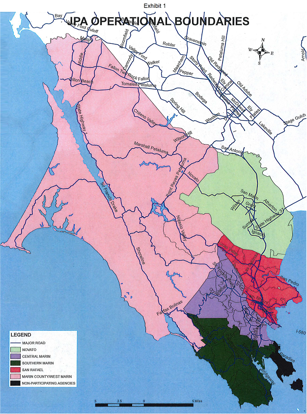 Map of the JPA Operational Boundaries in Marin County