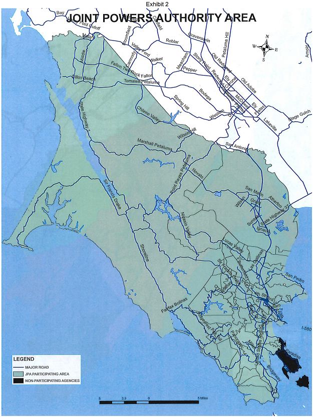 Map of the Joint Powers Authority Area in Marin County