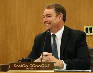 Damon Connolly smiles at the Board of Supervisors meeting.