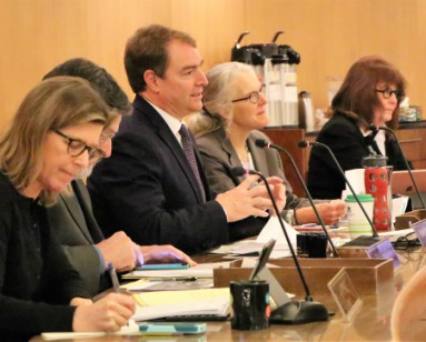 The five members of the Marin County Board of Supervisors shown during a board meeting.