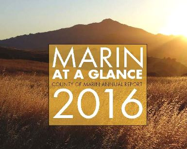 A screengrab of the Annual Report cover page, saying Marin At a Glance 2016 with a photo of Mount Tamalpais in the background.
