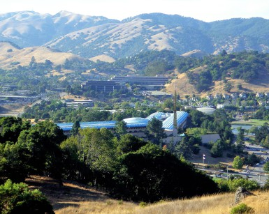 A view of the Marin County Civic Center from the surrounding hills.