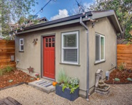 An exterior view of an accessory dwelling unit, which looks like a very small house.