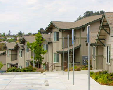 An exterior view of a row of apartments in Marin County.