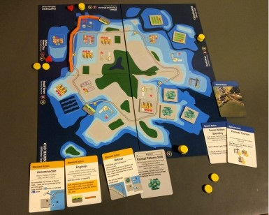 An overhead view of the Game of Floods board game