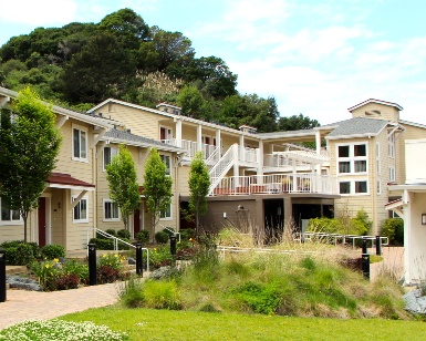 An exterior photo of an apartment complex in Southern Marin.