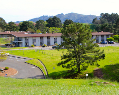 A view from a hillside of the former Golden Gate Baptist Seminary property, with open grassland and a large building in the background.