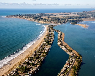 An aerial view of Stinson Beach