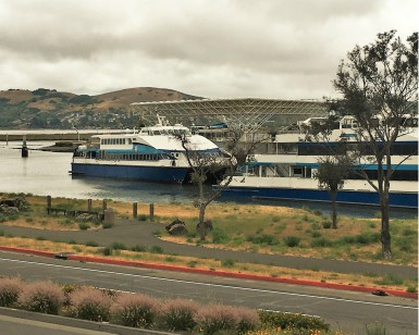 A view of the Larkspur Ferry terminal from the Marin Country Mart, where Shrinking Shores event is taking place on June 9, 2018.