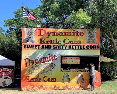 Photo shows the kettle corn booth at a previous Marin County Fair.