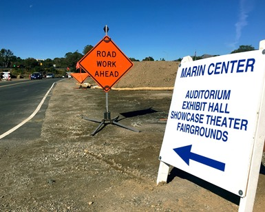 Signs show the detours at the Civic Center Drive Improvement Project in San Rafael.
