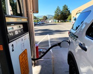 A Sheriff's vehicle gets filled up at the renovated fueling station at the Civic Center garage.