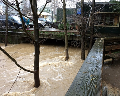 Muddy flood waters in Corte Madera Creek get close to flood level near buildings in downtown San Anselmo.