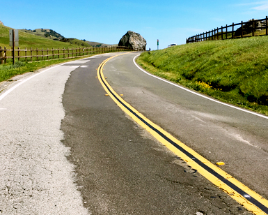 A deteriorated section of Lucas Valley Road near Big Rock in West Marin.