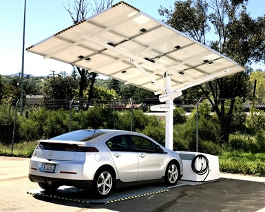 A solar charger is shown with an electric car parked underneath the panels.