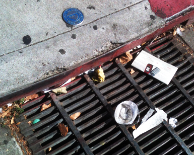 Pieces of trash are shown sitting on a storm drain grate.