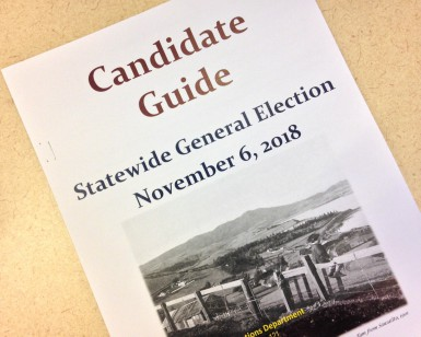 The cover of the printed candidate guide for the November 6, 2018, general election