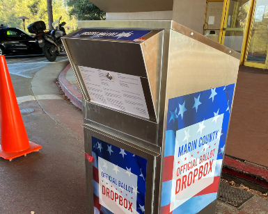 A view of the ballot dropbox stationed outside of the Marin County Civic Center.