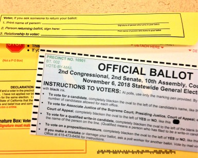A ballot and envelope for the November 6, 2018, general election