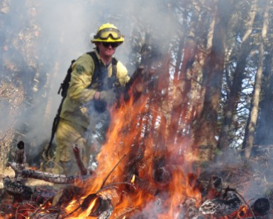 A firefighter is shown behind a pile of burning debris.