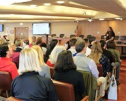 The Marin County Board of Supervisors chamber was packed with people during an information workshop about homelessness in April 2017.