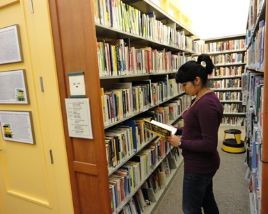 A young girl looks through books while standing in a library