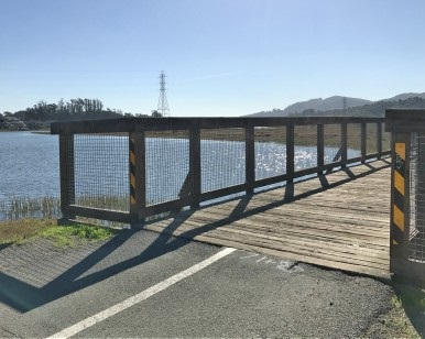A view of a bridge on the Mill Valley/Sausalito Multiuse Pathway that will have its boards replaced.