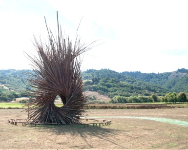 The Spirit Nest situated at Stafford Lake Park near Novato, with rolling hills in the background.