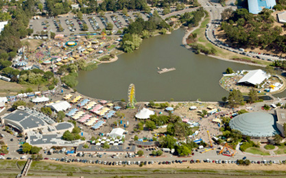 Aerial photo of the Marin Center and its facilities during the County Fair