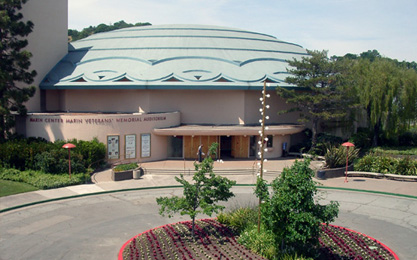 Marin Veterans' Memorial Auditorium entrance. Follow the link to see more photos (JavaScript required to view the image gallery)