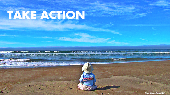 "Image of child on beach looking at ocean with ""take action"" title"