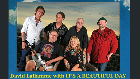 "David Laflamme with ""It's A Beautiful Day"" band photo."