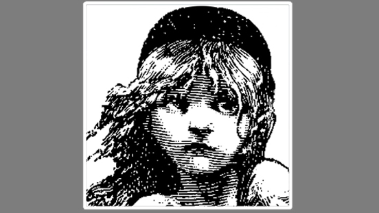 Les Miserables logo - black and white image of a young girl's face.
