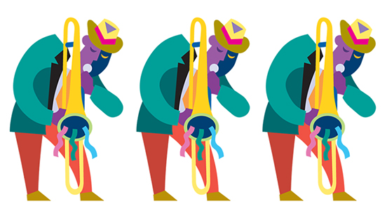 Cartoon image of jazz singers in honor of the theme of the 32nd annual Senior Information Fair.