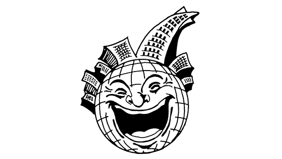 San Francisco Comedy Competition Logo, a face on a globe laughing with the cityscape of San Francisco on it's head.