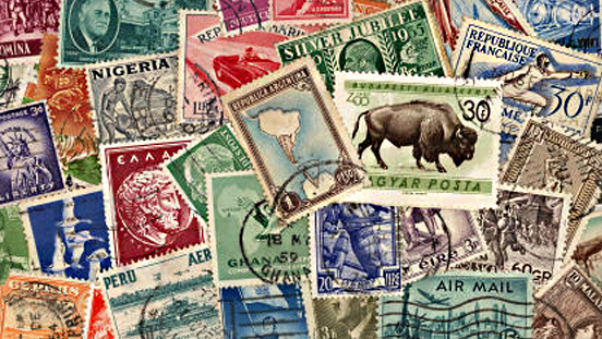 A pile of colorful stamps.