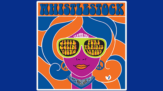 Logo for Whistlestock benefit concert - groovy woman with sunglasses, blue and orange hair.