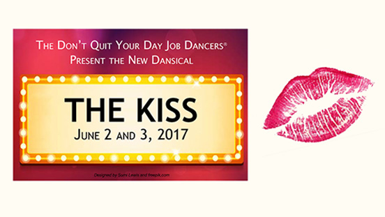 Marquee sign with 'The Kiss' written on it next to a lipstick kiss imprint.