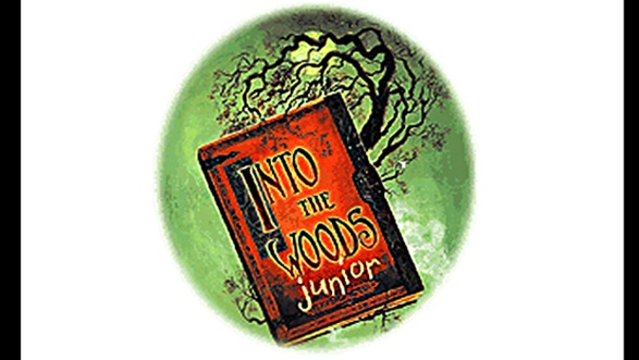 Image of orange book with title 'Into the Woods Junior'.  Green background with cragly black tree.