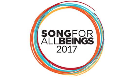 Song for all Beings logo, text surrounded by colorful circles.