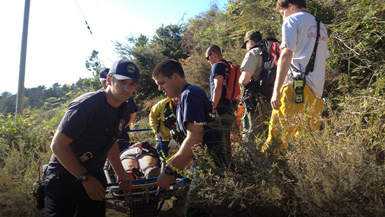 EMS rescue of an injured hiker