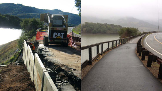 Two photos side-by-side of Stafford Lake's bike path underconstruction and completed.