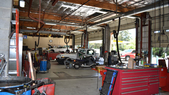 View of the garage bays.